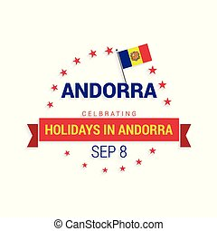 Independence day of Andorra. Patriotic Banner. Vector illustration