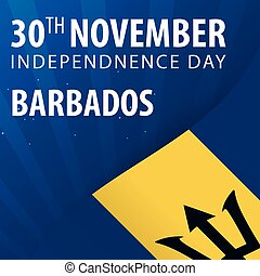 Independence day of Barbados. Flag and Patriotic Banner. Vector illustration.