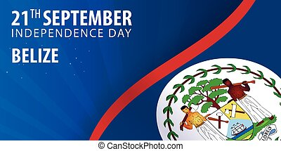 Independence day of Belize. Flag and Patriotic Banner. Vector illustration.