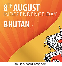 Independence day of Bhutan. Flag and Patriotic Banner. Vector illustration.