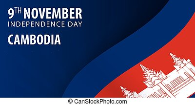 Independence day of Cambodia. Flag and Patriotic Banner. Vector illustration.