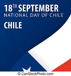 Independence day of Chile. Flag and Patriotic Banner. Vector illustration.