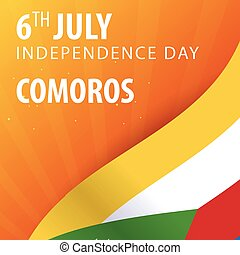 Independence day of Comoros. Flag and Patriotic Banner. Vector illustration.