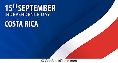 Independence day of Costa Rica. Flag and Patriotic Banner. Vector illustration.