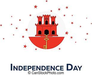 Independence day of Gibrlatar. Patriotic Banner. Vector illustration.