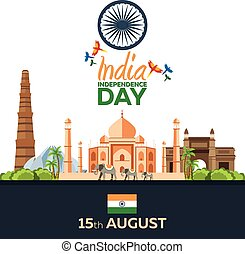 Independence day of India. Vector illustration. 15th August....