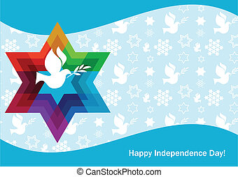 independence day of Israel, david star and peace white dove...