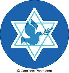 independence day of Israel, david stars and peace white dove...