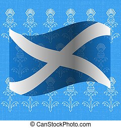 Independence Day of Scotland. 24 June. Flag of Scotland. Grunge background with drawings of a thistle