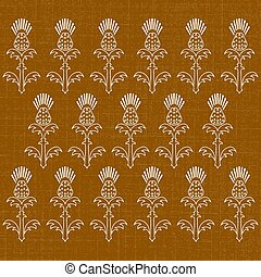 Independence Day of Scotland. 24 June. Ornament of flowers of a thistle. Texture of fabric. Brown background