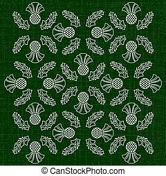 Independence Day of Scotland. 24 June. Ornament of flowers of a thistle. Texture of fabric. Dark green background
