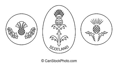 Independence Day of Scotland. 24 June. Round and oval emblem with a thistle. Black and white
