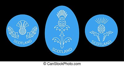 Independence Day of Scotland. 24 June. Round and oval emblem with a thistle. Black background