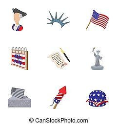 Independence day of USA icons set, cartoon style