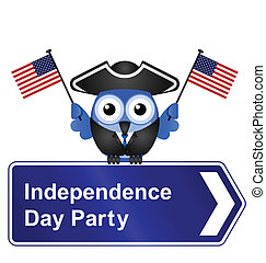 Independence Day party sign - Comical Independence Day party...