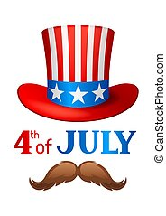 Independence Day patriotic illustration. American cowboy hat with stars and stripes
