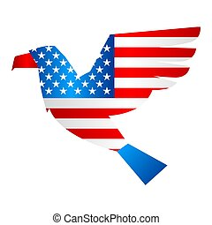 Independence Day patriotic illustration. American flag with stars and stripes in shape of eagle