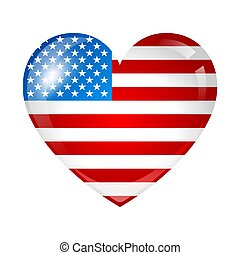 Independence Day patriotic illustration. American flag with stars and stripes in shape of heart