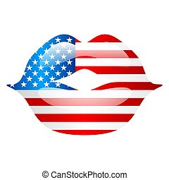 Independence Day patriotic illustration. American flag with stars and stripes in shape of lips