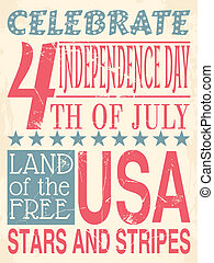 Independence Day Poster - Vintage style poster for...