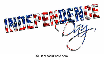 Independence Day red white and blue dimensional lettering white background