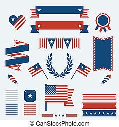Independence Day ribbons, badges and decorative elements.