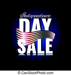 Independence Day sale. Abstract background with waving ribbon and reflection.