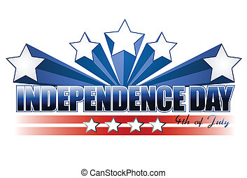independence day sign isolated over white