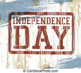 Independence day stamp on wooden background. Vector illustration, EPS10