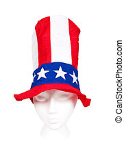 Independence Day Tall Striped Hat with Stars