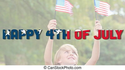 Animation of independence day textmade of u.s. flag waving over caucasian boy holding two u.s. flags. united states of america flag and holiday concept digital composition.