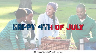 Animation of independence day text made of u.s. flag waving over african american family having picnic. united states of america flag and holiday concept digital composition.