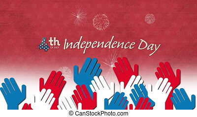 Animation of red, white and blue arms over independence day text with fireworks. united states of america flag and holiday concept digital composition.