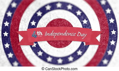 Independence Day text on red banner against stars on ...