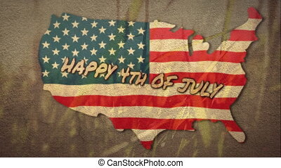 Independence Day text over US map against grass in the background