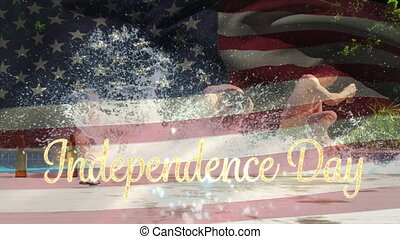 Independence day text with a flag and a group of friends in a pool