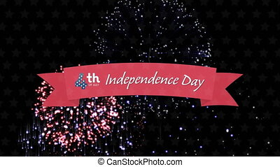 Independence Day text with fireworks against black background