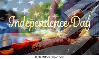 Independence day text with flag and barbecue