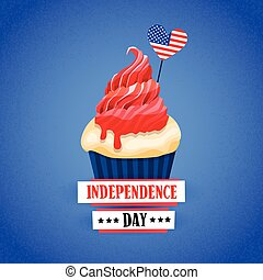 Independence Day United States American Holiday Cupcake With Flag