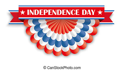Independence Day USA Bunting - USA flag bunting with ribbon...