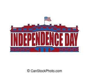 Independence Day USA emblem. White house. America Patriotic holiday July 4 Logo. National Celebration United States