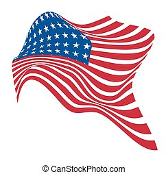 Independence Day USA Flag Theme - Abstract Wavy America Flag...