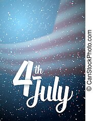 Independence Day Vector Poster. Happy 4th of July USA Flag on Blue Background with Stars and Confetti