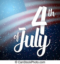 Independence Day Vector Poster. The 4th of July Paper Lettering. American Red Flag on Blue Background with Stars and Confetti