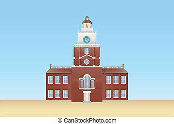 independence hall in Philadelphia - illustration of the...