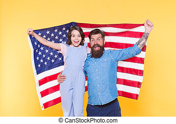 Independence is happiness. Patriotic family cheerful and friendly. Independence day holiday. How do americans celebrate independence day. Father bearded hipster and cute little daughter with USA flag