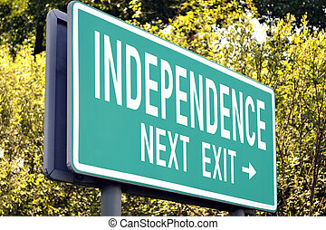 Independence - next exit sign