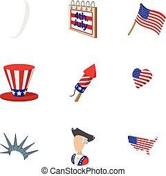 Independence of USA icons set, cartoon style