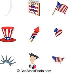 Independence of USA icons set, cartoon style