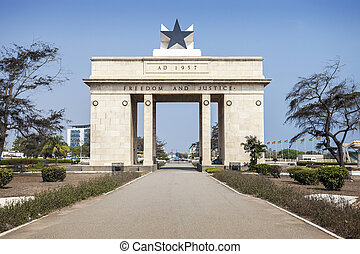 Independence Arch commemorates freedom of Ghanaians from British Empire